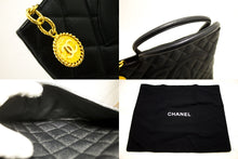 CHANEL Gold Medallion Caviar Shoulder Bag Shopping Tote Black R34-hanel-hannari-shop