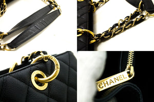 "CHANEL Caviar GST 13"" Grand Shopping Tote Chain Shoulder Bag Black p33-hanel-hannari-shop"