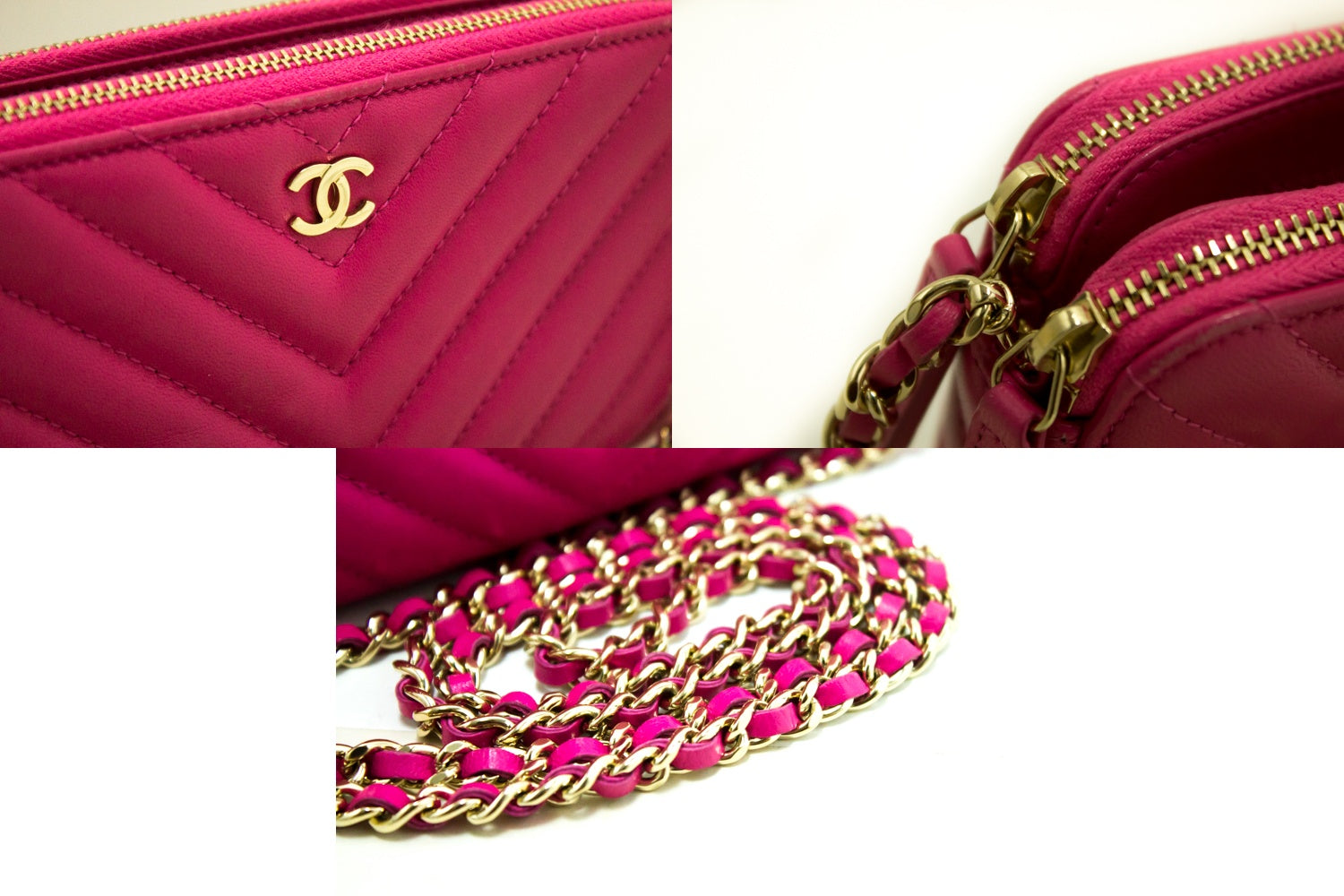 e7b6ac8a55be ... CHANEL Hot Pink Wallet On Chain WOC Double Zip Chain Shoulder Bag m69- Chanel- ...