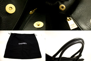 CHANEL Executive Tote Caviar Shoulder Bag Handbag Black Gold Q83-anel-hannari-shop