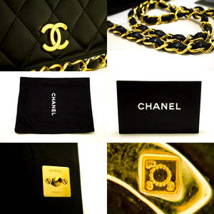 CHANEL Small Chain Shoulder Bag Clutch Black Quilted Flap Lambskin Q10-Chanel-hannari-shop