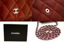 CHANEL Red Wallet On Chain WOC Shoulder Bag Crossbody Clutch Lamb p18-Chanel-hannari-shop