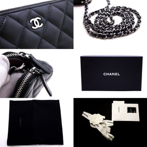 CHANEL Lambskin Wallet On Chain WOC Double Zip Chain Shoulder Bag s21-hannari-shop