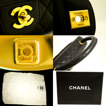 CHANEL Lambskin Handbag Bag Black Quilted Flap Leather Gold Hw k39