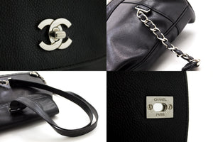 CHANEL Caviar Chain Backpack Bag Black Flap Leather Silver Hw s84