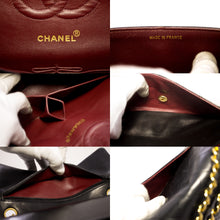 "CHANEL 2.55 Double Flap 10"" Chain Shoulder Bag Black Lambskin t96-hannari-shop"