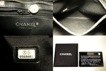 CHANEL Caviar Silver Medallion Shoulder Bag Black Leather Tote L59-Chanel-hannari-shop