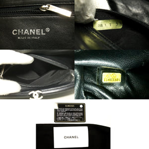 CHANEL Lambskin Timeless Clutch Bag Black Quilted Leather Silver n48-Chanel-hannari-shop
