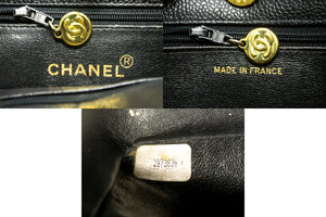 CHANEL Large Gold CC Caviar Chain Shoulder Bag Black Leather n11