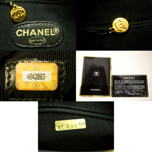 CHANEL Caviar Large Chain Shoulder Bag Black Quilted Leather Gold i27
