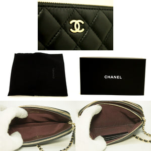 CHANEL Wallet On Chain WOC Double Zip Chain Shoulder Bag Black n07-Chanel-hannari-shop