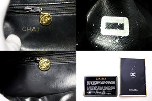 CHANEL Caviar Backpack Chain Bag Black Leather Flap Gold Hardware s33-hannari-shop