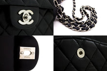 CHANEL Silver 2.55 Double Flap Chain Shoulder Bag Black Quilted t19