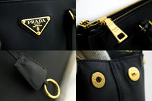 PRADA Saffiano Lux Handbag Black Leather Gold Hardware Calfskin n89-Prada-hannari-shop