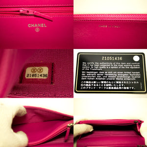 CHANEL Wallet On Chain WOC Hot Pink Shoulder Bag Crossbody Clutch L70-Chanel-hannari-shop