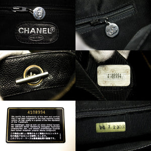 CHANEL Caviar Quilted Chain Shoulder Bag Black Leather Silver s39-hannari-shop