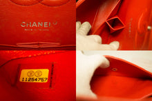 CHANEL Red Punching Leather Double Flap Chain Shoulder Bag Quilted n32