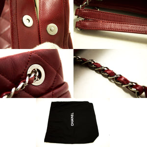 CHANEL Red Caviar Chain Shoulder Bag Large Quilted Leather Silver p98