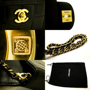 CHANEL Chocolate Bar Gold Chain Shoulder Bag Clutch Black Quilted L72