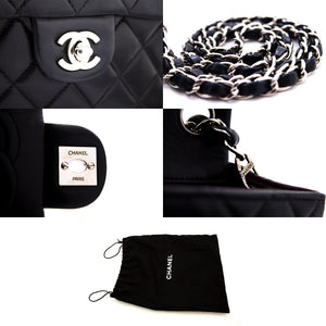 CHANEL Mini fjouwerkante sulveren ketting skouder tas Crossbody Black s97