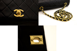 CHANEL Chain Umhängetasche Crossbody Black Quilted Flap Lambskin z71 hannari-shop