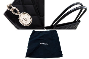 CHANEL Silver Medallion Caviar Shoulder Bag Shopping Tote Black t31-hannari-shop