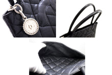 CHANEL Silver Medallion Caviar Shoulder Bag Shopping Tote Black s96-hannari-shop