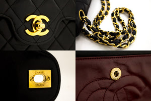 CHANEL 2.55 Double Flap Chain Shoulder Bag Black Quilted Lambskin t24