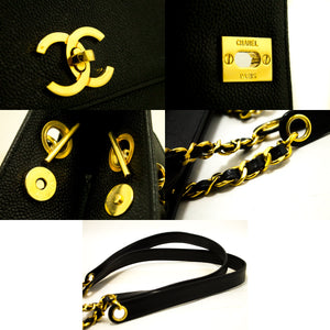 CHANEL Caviar Chain Shoulder Bag Black Leather Gold Hw CC Pocket L95-Chanel-hannari-shop