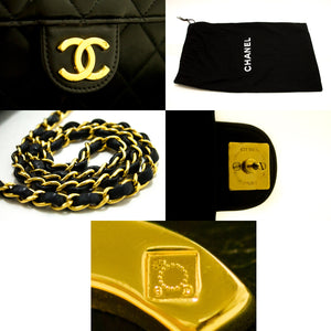 CHANEL Small Chain Shoulder Bag Clutch Black Quilted Flap Lambskin p24-Chanel-hannari-shop