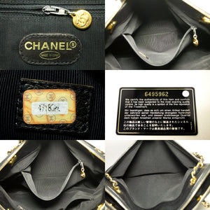 CHANEL Caviar Large Chain Shoulder Bag Black Leather Logo Gold k74-Chanel-hannari-shop