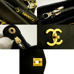 CHANEL Caviar Large Chain Shoulder Bag Black Leather Gold Zipper n33