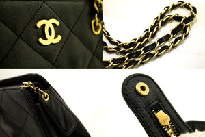 CHANEL Caviar Large Chain Shoulder Bag Black Quilted Leather Gold k96-Chanel-hannari-shop