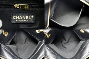 CHANEL Caviar Chain Shoulder Bag Shopping Tote Black Quilted Purse t07