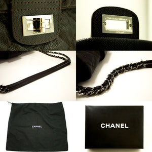 CHANEL Caviar Chain Shoulder Bag Dark Brown Silver Quilted Flap g33-Chanel-hannari-shop
