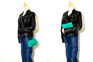 CHANEL Green Wallet On Chain WOC Shoulder Bag Crossbody Clutch L97-Chanel-hannari-shop