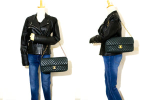 CHANEL Chevron V-Stitch Chain Shoulder Bag Quilted Flap Glitter m74-Chanel-hannari-shop