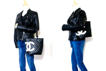 CHANEL Cambon Tote Small Shoulder Bag Black White Quilted Calfskin s68