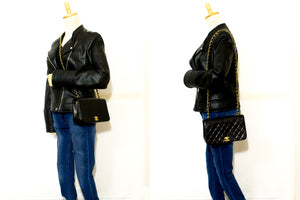 CHANEL Chain Shoulder Bag Crossbody Black Quilted Flap Lambskin R44-Chanel-hannari-shop