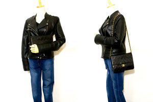 CHANEL Small Chain Shoulder Bag Clutch Black Quilted Flap Lambskin R80-Shoulder Bag-hannari-shop