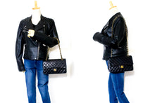 CHANEL 2.55 Double Flap Chain Shoulder Bag Black Quilted Lambskin t06