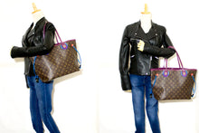 Louis Vuitton Auth Monogram Totem Neverfull MM Magenta M41664 Shoulder Bag n37 hannari-shop