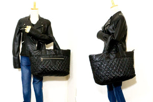 CHANEL Coco Cocoon Nylon Jumbo Large Tote Bag Handtas Black R17-Chanel-hannari-shop