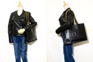 CHANEL Jumbo Large Big Chain Shoulder Bag Black Lambskin Leather L03-Chanel-hannari-shop