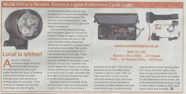 Screenshot of Review of Endurance Cycle Light