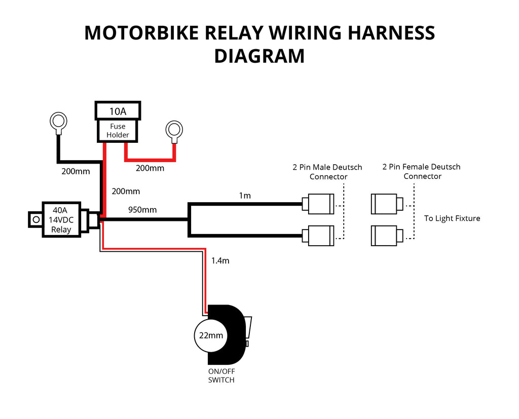 motorbike relay wiring harness for 2 x 10w lights