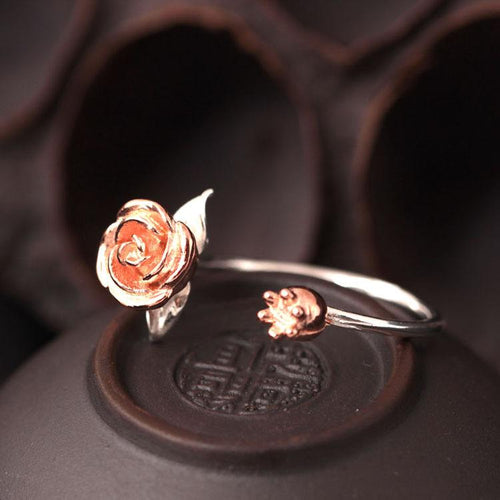 Sterling Silver Rose Flower Open Ring - Yogi Clan