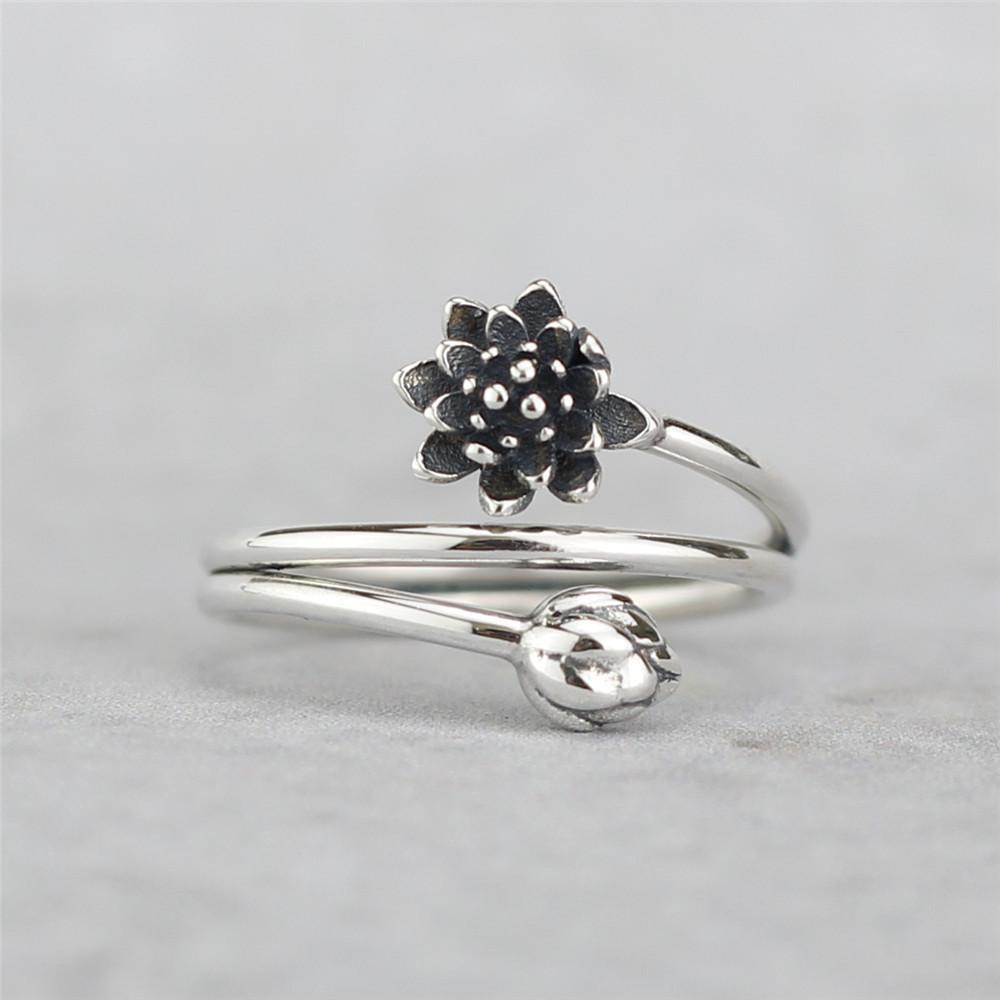 Beautiful Flyleaf 925 Sterling Silver Vintage Winding Shape Lotus Flower Open Rings For Yogini