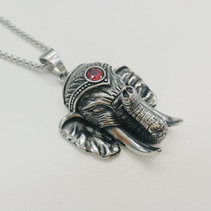 Silver Color Indian Ganesha Red Stone Necklace - Yogi Clan
