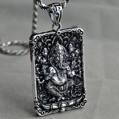 925 Sterling Silver Lord Ganesha OM Power Pendant - Yogi Clan